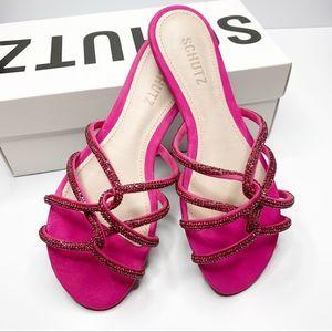 SCHUTZ Uzia Crystal Embellished Slide Sandal Pink